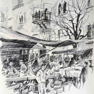 Mercato a Cles 1987 - pennarello