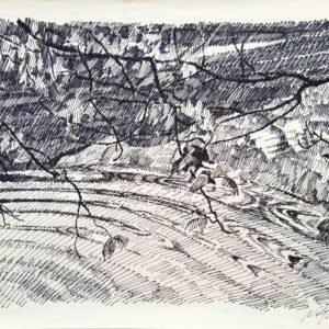 Riflessi nel Lago di Tovel 1986 - schizzo a penna