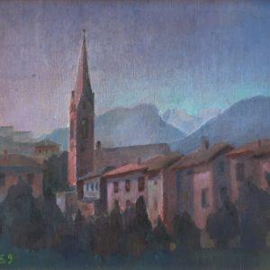 Senza titolo - Veduta di Cles all'alba 1959