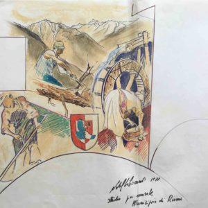 Studio per murale municipio di Rumo 1988
